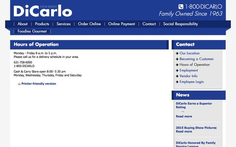 Screenshot of Hours Page dicarlofood.com - Hours of Operation   DiCarlo Foods - captured June 13, 2016