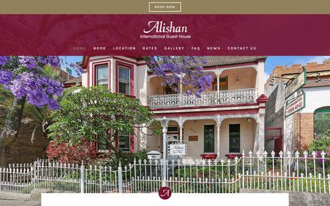 Screenshot of Home Page alishan.com.au - Alishan International Guest House | Accommodation | Glebe, Sydney Australia - captured July 1, 2018