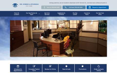 Screenshot of Home Page eyecarelawrence.com - Eye Doctor in Lawrence, KS | Visit Drs. Dobbins & Letourneau - captured Nov. 14, 2018