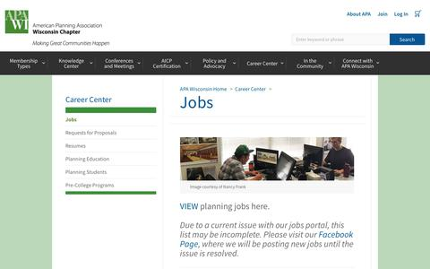 Screenshot of Jobs Page planning.org - APA Wisconsin Chapter - captured Oct. 31, 2018
