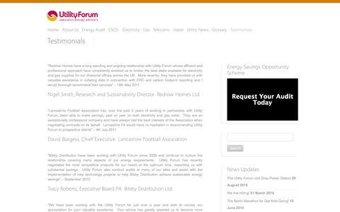 Screenshot of Testimonials Page theutilityforum.co.uk - Testimonials - Utility Forum - captured Aug. 15, 2016
