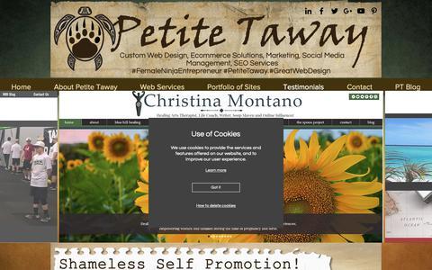 Screenshot of Testimonials Page petitetaway.com - Petite Taway Testimonials | Custom Web Design Services - captured Oct. 21, 2018