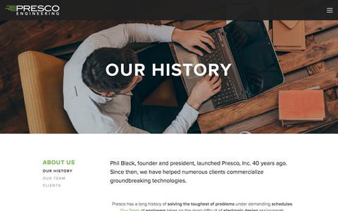 Screenshot of About Page prescoinc.com - Our History — Presco Inc. - captured July 21, 2018