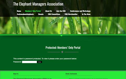 Screenshot of Login Page elephantmanagers.com - Members' Only Portal – The Elephant Managers Association - captured Oct. 25, 2018