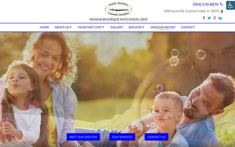 Screenshot of Services Page hutchdentist.com - Dental Services in Coconut Creek, FL | Manon Bourque Hutchison, DDS - captured Sept. 25, 2018