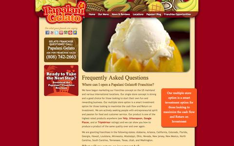 Screenshot of FAQ Page papalanigelato.com - Gelato Ice Cream Franchise | Papalani Gelato® - captured Oct. 1, 2014