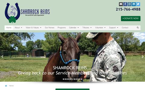 Screenshot of Home Page shamrockreins.org - Shamrock Reins | Equine Assisted Activities and Therapies for Veterans - captured Sept. 20, 2018