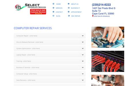 Screenshot of Services Page stsforyou.com - Computer Repair Cape Coral FL - Repairing Computers for over 20 years - captured June 22, 2019