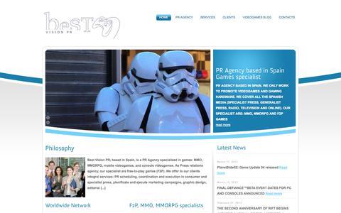 Screenshot of Home Page bestvisionpr.es - PR AGENCY SPAIN GAMES HARDWARE Pr Agentur Spanien spiele LATINAMERICA AND BRAZIL MMO F2P FREE-TO-PLAY MMORPG CONSOLE IOS ANDROID GAMES SPECIALIST - captured Sept. 30, 2014