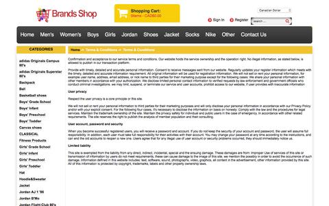 Screenshot of Terms Page fundomondo.ca - Terms & Conditions : Shop Athletic Footwear, New Style Nike Running Shoes - captured Jan. 8, 2016
