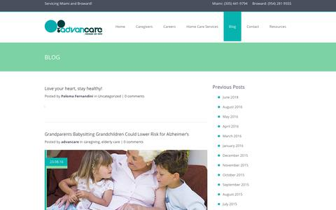 Screenshot of Blog advancare.net - Elder Care Blog   Advancare - captured Oct. 3, 2018
