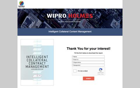 Screenshot of Landing Page wipro.com - Intelligent Collateral Content Management - captured Aug. 19, 2016