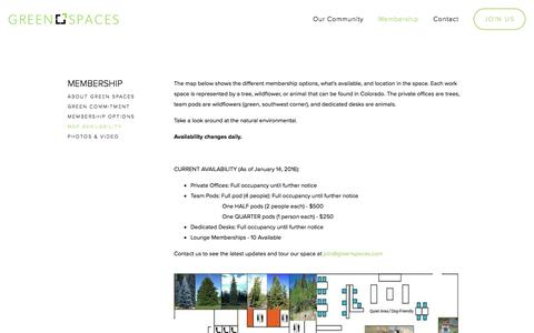 Screenshot of Maps & Directions Page greenspaces.com - Map Availability — Green Spaces   Denver's Premier Co-working Hub for Green and Socially Conscious Entrepreneurs - captured Feb. 2, 2016