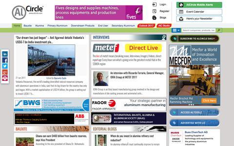Screenshot of Home Page alcircle.com - A Virtual Aluminium Ecosystem: Find aluminium news, events, aluminium blog, interview, business leads, directory and aluminium price - captured June 27, 2017
