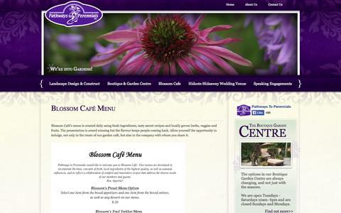 Screenshot of Menu Page pathwaystoperennials.com - Pathways to Perennials - captured Sept. 30, 2014