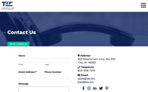 Screenshot of Contact Page tec.biz captured Oct. 17, 2019