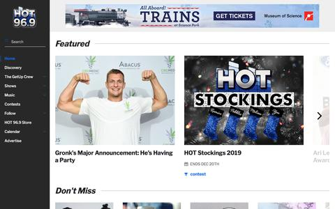 Screenshot of Home Page hot969boston.com - HOT 96.9 Boston - Boston's #1 for Throwbacks & The Best New Hip Hop And R&B. - captured Nov. 19, 2019