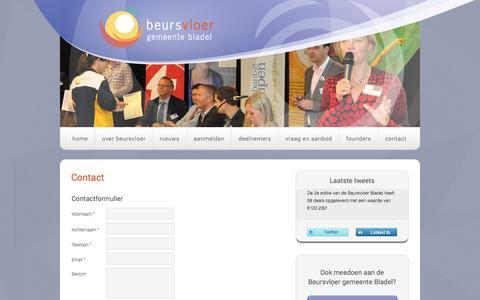 Screenshot of Contact Page beursvloergemeentebladel.nl - Aanmelden  - Beursvloer gemeente Bladel - captured Sept. 30, 2014