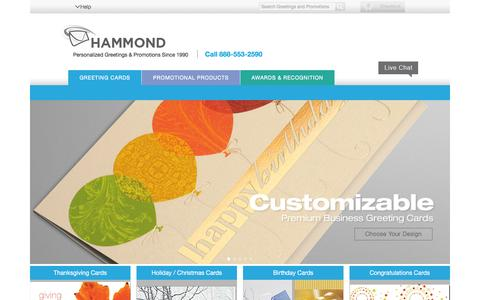 Screenshot of Home Page hammond.com - Business Greeting Cards: Bulk Order Wholesale Corporate Holiday Christmas Cards - captured Jan. 25, 2016
