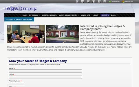 Screenshot of Jobs Page hedgescompany.com - Hedges & Company Careers - captured July 13, 2016