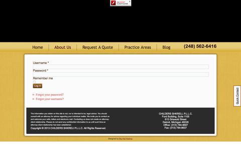 Screenshot of Login Page childersshkreli.com - login - captured Sept. 25, 2018