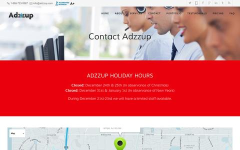 Screenshot of Contact Page adzzup.com - Search Engine Marketing Services Tempe AZ - Contact Adzzup Today | Adzzup - captured Dec. 24, 2015
