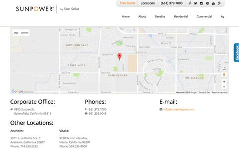 Screenshot of Contact Page Locations Page sunsolarpros.com - Contact SunPower by Sun Solar - captured Dec. 2, 2016