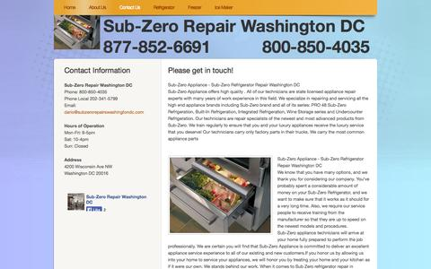 Screenshot of Contact Page webs.com - subzerorepairwashingtondc.com - Contact Us - captured Sept. 13, 2014