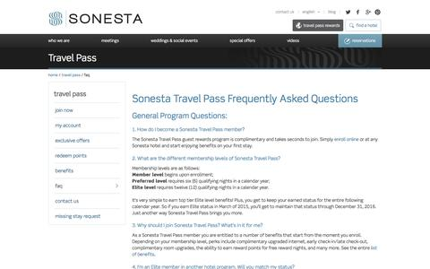 Screenshot of FAQ Page sonesta.com - Sonesta Collection Đ Hotels . Resorts . Suites - captured Jan. 15, 2016