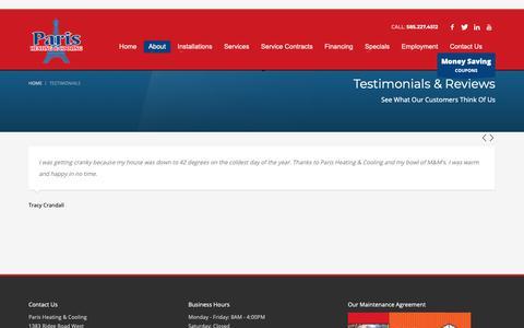 Screenshot of Testimonials Page parisheatcool.com - Testimonials | Paris Heating & Cooling | Rochester - captured Sept. 26, 2018