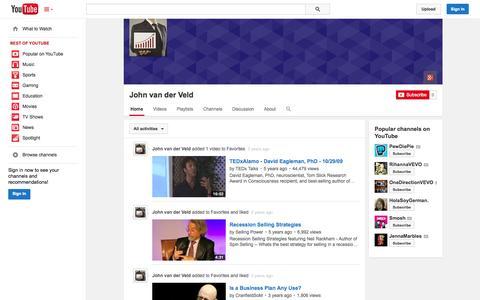 Screenshot of YouTube Page youtube.com - John van der Veld  - YouTube - captured Oct. 29, 2014