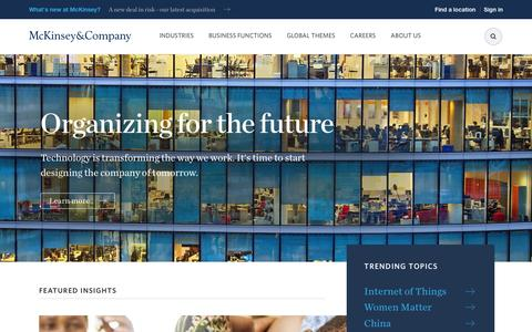 Screenshot of Home Page mckinsey.com - McKinsey & Company | Global management consulting - captured Feb. 13, 2016
