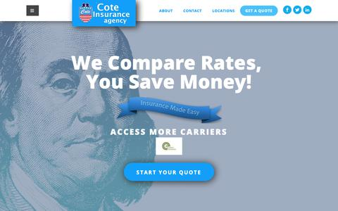 Screenshot of Home Page savewithcote.com - Cote Insurance Agency   Insurance Superstore - captured Dec. 16, 2018