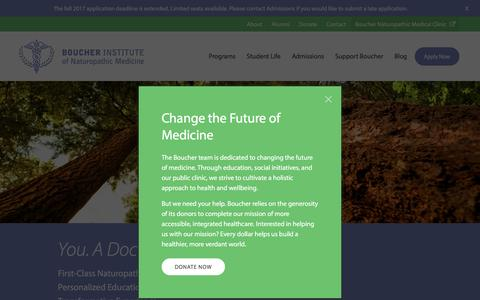 Screenshot of Home Page binm.org - Boucher Institute, School of Naturopathic Medicine (ND) | Vancouver, Canada - captured May 8, 2017
