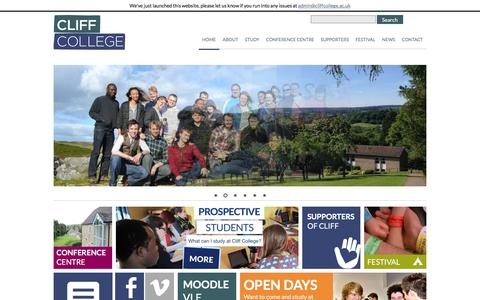 Screenshot of Home Page cliffcollege.ac.uk - Cliff College | Christ for All | All for Christ. - captured Dec. 9, 2015