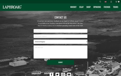 Screenshot of Contact Page laphroaig.com - Contact us - Laphroaig - captured Dec. 20, 2018