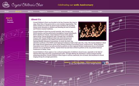 Screenshot of About Page crystalchoir.org - Crystal Children's Choir - About Us - captured Oct. 3, 2014