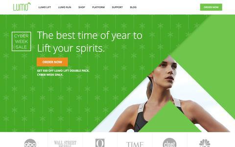 Screenshot of Home Page lumobodytech.com - Lumo Lift & Lumo Run Cyber Week Sales   Lumo Bodytech - captured Dec. 4, 2015