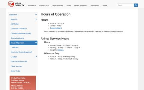 Screenshot of Hours Page mesacounty.us - Hours of Operation - Mesa County, Colorado - captured Oct. 17, 2018
