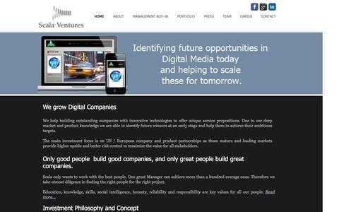 Screenshot of Home Page scala-ventures.com - Scala Ventures - captured July 23, 2016