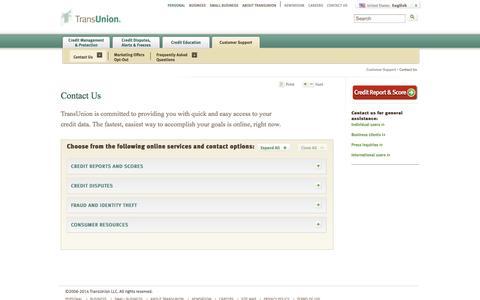 Screenshot of Contact Page transunion.com - Contact Us-TransUnion.com - captured Sept. 17, 2014
