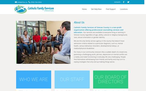 Screenshot of About Page cfssc.ca - About Catholic Family Services Simcoe County  | Catholic Family Services of Simcoe County - captured Oct. 27, 2016
