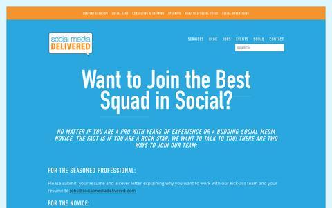 Screenshot of Jobs Page socialmediadelivered.com - Jobs — Social Media Delivered - captured Aug. 15, 2016