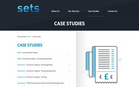 Screenshot of Case Studies Page setsltd.com - Case Studies - SETS - captured July 25, 2018