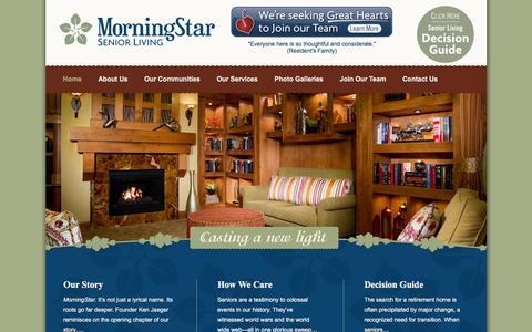 Screenshot of Home Page morningstarseniorliving.com - Senior Assisted Living Facilities | Respite & Memory Care - captured Jan. 10, 2016