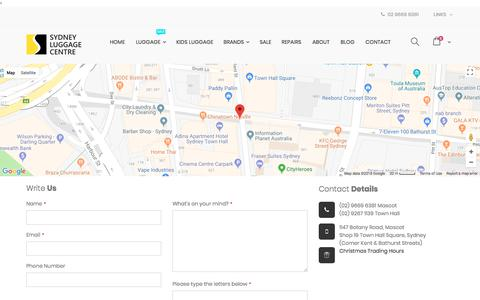 Screenshot of Contact Page sydneyluggage.com.au - Contact Us Luggage, Suitcases, Carry On, Luggage Sale Australia - captured July 1, 2018