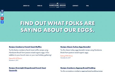 Screenshot of Press Page handsomebrookfarm.com - Press | What Folks Are Saying About Our Eggs | Handsome Brook Farm - captured March 4, 2018