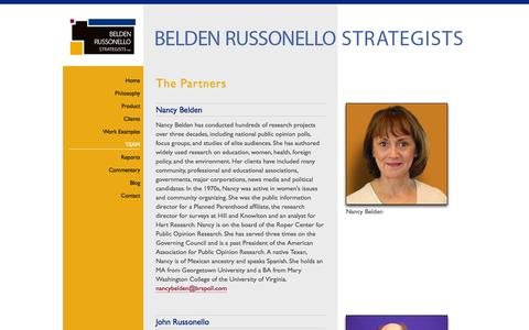 Screenshot of Team Page brspoll.com - Belden Russonello Strategists: Public Opinion Research and Strategic Communications : Our Team - captured Oct. 5, 2014