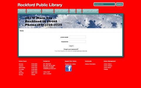 Screenshot of Login Page rockford.lib.ia.us - Rockford Public Library - captured Jan. 20, 2017