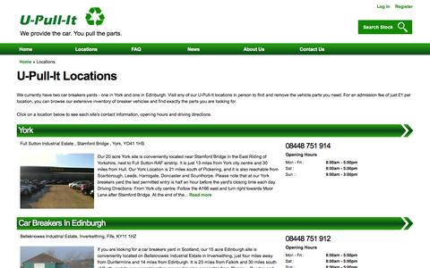 Screenshot of Locations Page u-pull-it.co.uk - | U-Pull-It Breakers Yards - captured Oct. 3, 2014